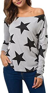 Zumine Women's Star Print Off The Shoulder Tops Long Sleeve Casual Shirt