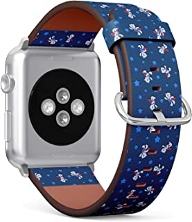 Compatible with Apple Watch (Small Version) 38 / 40mm Leather Wristband Bracelet with Stainless Steel Clasp and Adapters - White Bear Cubs Superkids Stars