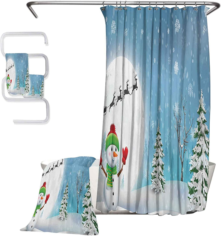 Christmas Premium Mens Exquisite Handkerchief 4-Piece Bathroom Set Sock on The Palm Tree on Tropical Sandy Beach Island Maldives Festive Design Wiping Sweat and Hands W72 xL72 W31 xL63 W13 XL