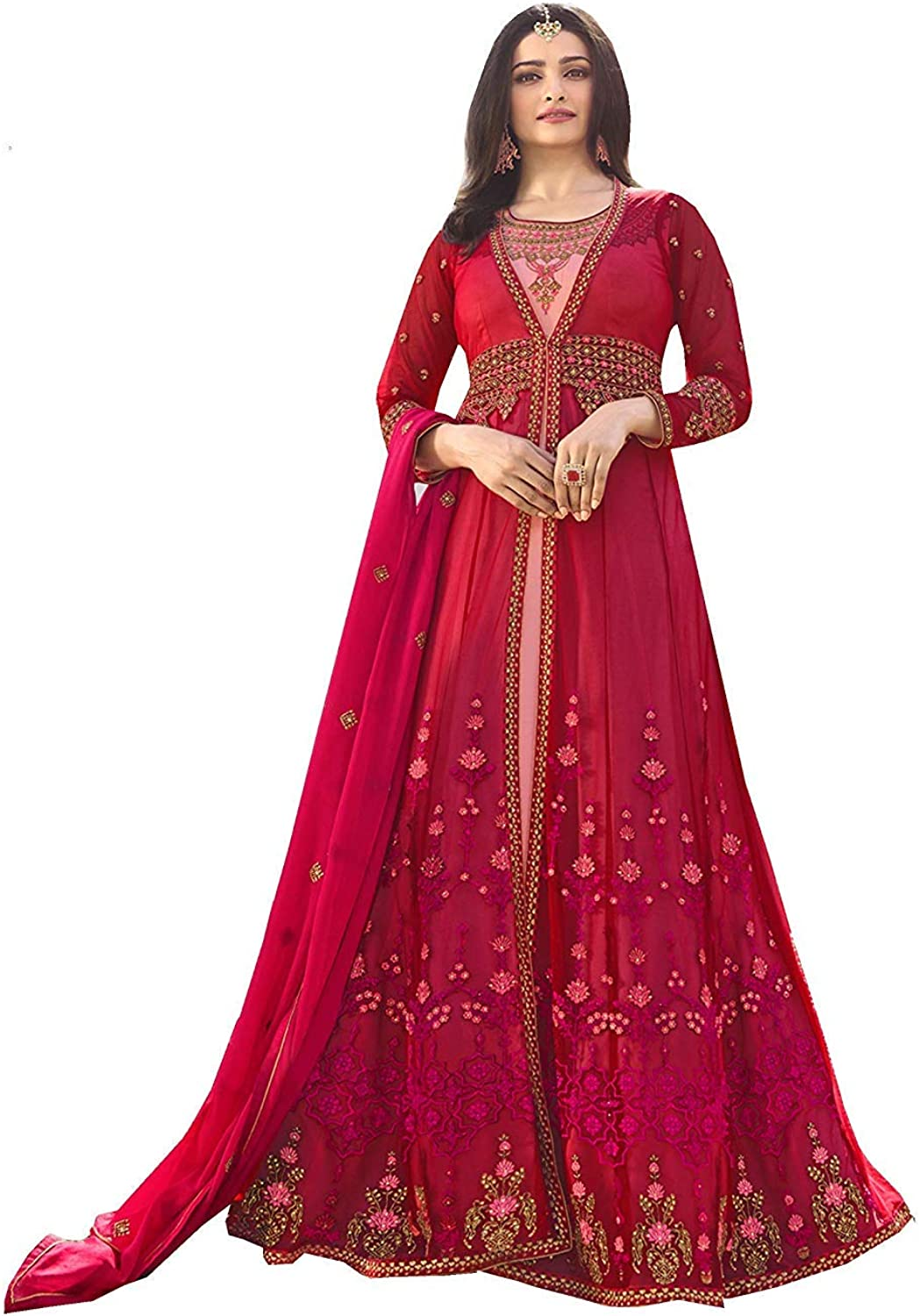 Stylishfashion Indian Pakistani Designer Silk Long Gown Type Style Wear Anarkali Salwar Kameez Party Wear Suit