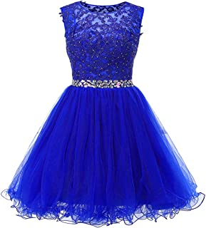 Ailidaw Women's Tulle Homecoming Dress Short Applique Beaded Formal Prom Cocktail Party Gowns Junior