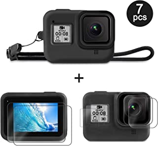 Linghuang Kit de Accesorios para GoPro Hero 8 Funda Protectora de Silicona+Correa para la Muñeca+Protector de Pantalla LCD+Película de Lente de Vidrio Templado+Protector de Pantalla Pequeña HD