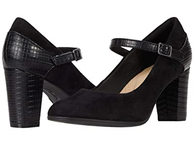 Clarks Alayna Shine (Black Suede/Synthetic Combination) Women