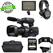 JVC GY-HM850U ProHD Compact Shoulder Mount Camera with Fujinon 20x Lens - Bundle with Sony 128GB Memory Card, Sony MDR-7506 Headphones + LED Light + More (International Model)