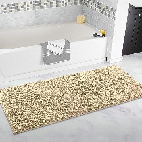 ITSOFT Non Slip Shaggy Chenille Soft Microfibers Runner Large Bath Mat for Bathroom Rug Water Absorbent Carpet, Machi...