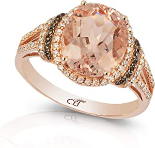 14K ROSE GOLD DIAMOND,BROWN DIAMOND,MORGANITE RING