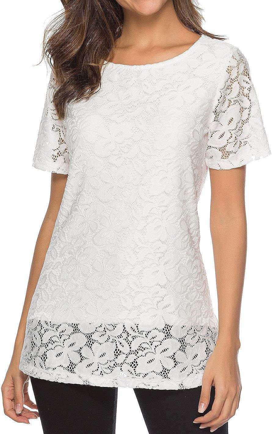 koitmy Women's Short Sleeve Round Neck Lace T-Shirt Blouse Tunics Tops