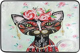 JSTEL Nonslip Door Mat Home Decor, Ethnic Floral Cat Skull Durable Indoor Outdoor Entrance Doormat 23.6 X 15.7 Inches