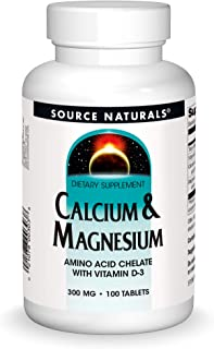 Source Naturals Calcium & Magnesium Dietary Supplement - Amino Acid Chelate with Vitamin D-3 - 100 Tablets