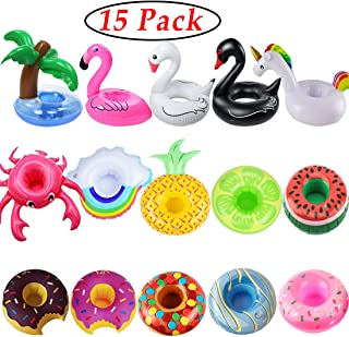 iShyan Inflatable Drink Holder, 15 Pack Drink Floats Inflatable Cup Holders Flamingo Coasters for Swimming Pool Party