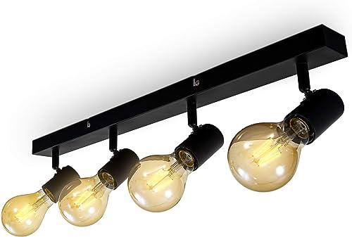 B.K.Licht Plafonnier 4 spots orientables & pivotants, spot bar design rétro, luminaire plafond vintage pour salon, sa...