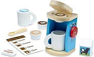 """مجموعه قهوه ساز چوبی Melissa & Doug Brew & Serve ، سرویس لوازم جانبی آشپزخانه ، تشویق بازی خیالی ، 12 قطعه ، 10 """"H x 13"""" W x 4 """"L"""