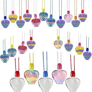 Kicko Heart Sand Art Necklace - 24 Pack - Cool and Fun Stylish Assorted Heart-Shaped Bottle Necklace for Kids and Adults -...