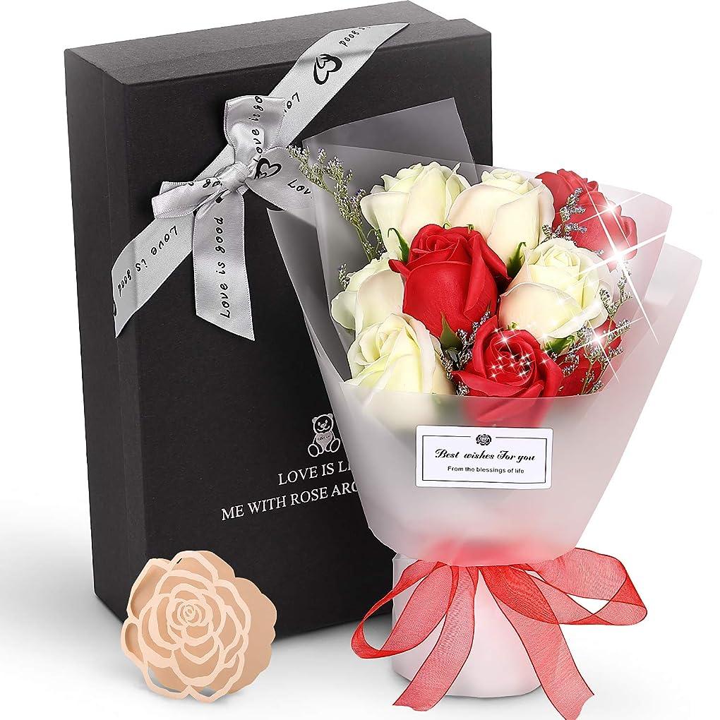 休日にシンク刻むROYI ソープフラワー エレガントブーケ バラ型 石けん花束 枯れない花 誕生日 母の日 バレンタインデ 退職祝い 結婚祝い 入学祝い 花ギフト 造花 メッセージカード付き お手入れ簡単 レッド
