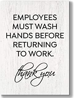 2.5 x 3.5 inch Small & Elegant Employees Must Wash Hands Bathroom Sign ~ Plywood ~ Wall Art Decor Rustic Modern Farmhouse ...
