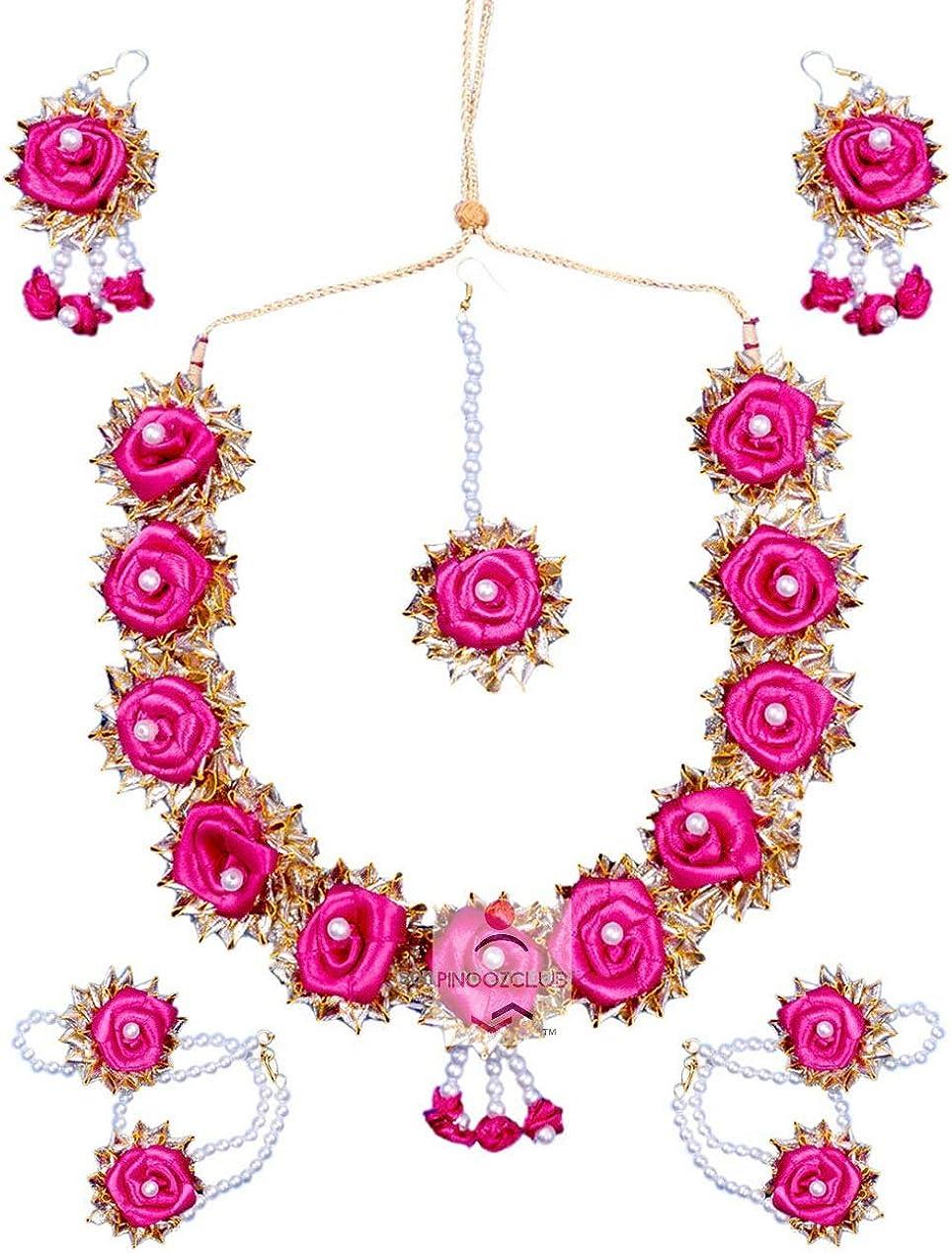 Pinoozclub Pink Satan Gota Patti Necklace/Earring/Maangtika Jewellery Set For Women/Girls