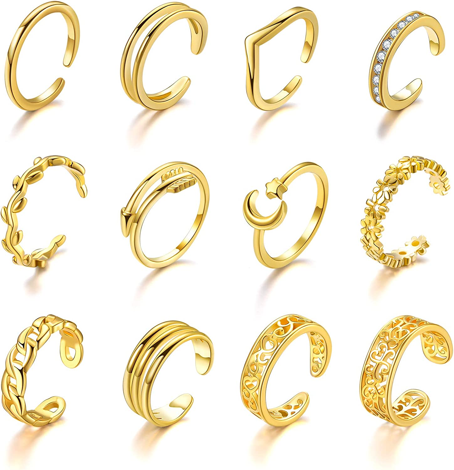 Senteria Sale special price 12PCS Adjustable Toe Rings for Gold CZ Women 14K Plated Popular products