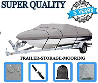 SBU Boat Cover FITS BAYLINER 195 RUNABOUT BR 2004 2005 2006 2007, 600 Denier Woven Polyester