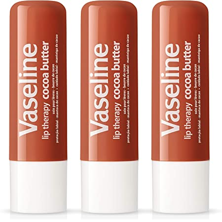 Vaseline Lip Therapy Stick with Petroleum Jelly (Cocoa Butter, Pack of 3)