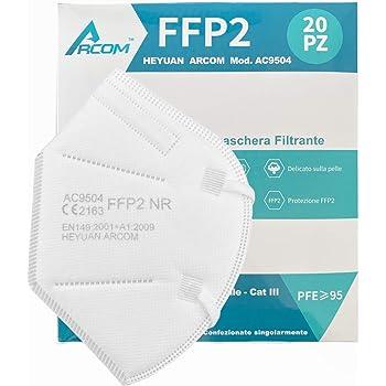 20x ARCOM - MÁSCARAS FFP2 - MASCARILLAS FFP2 CERTIFICADO CE - 20 Piezas