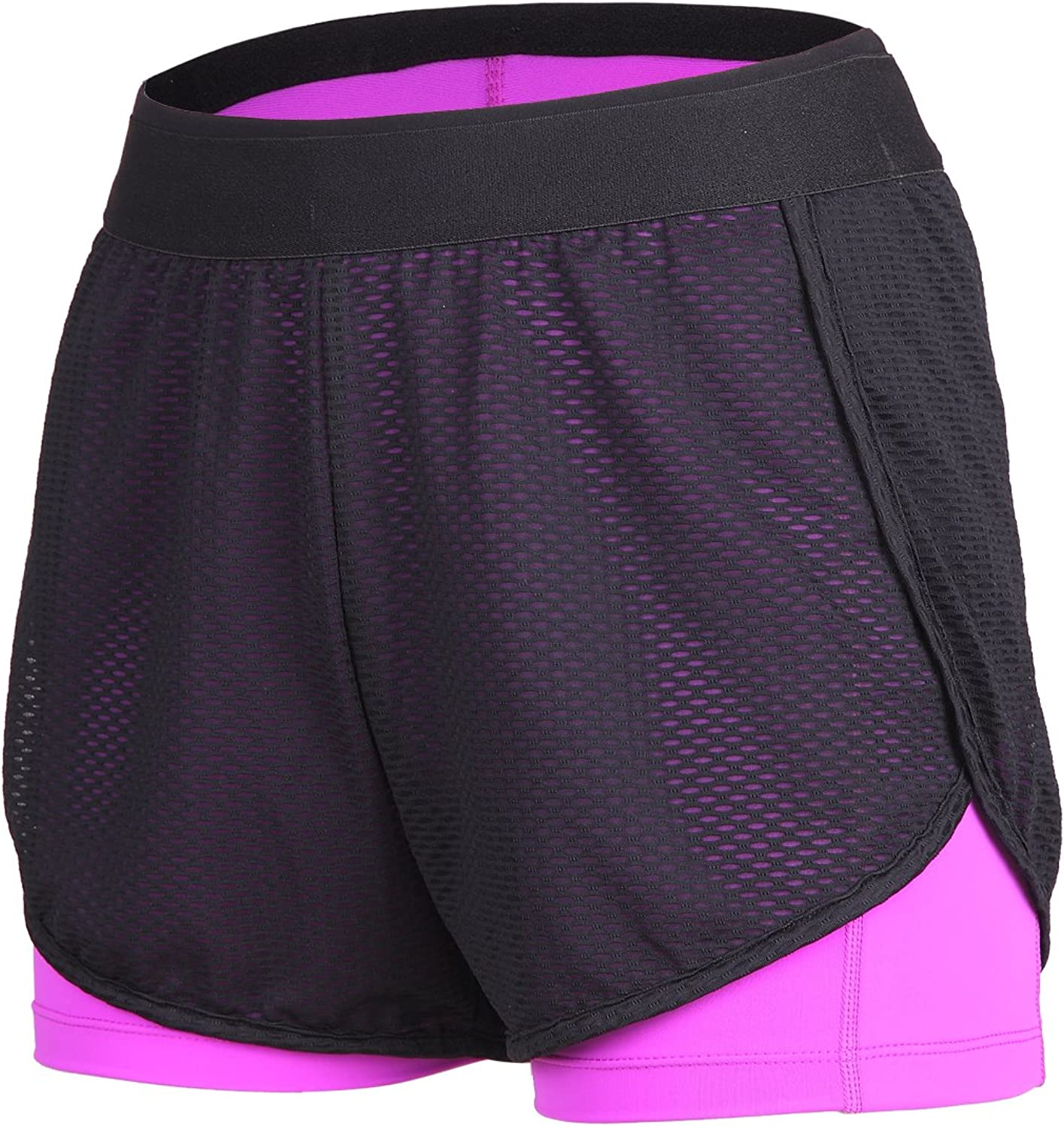 Beroy Women's MidRise Active Compression Mesh 2 in 1 Training Running Shorts
