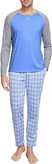 Hawiton Pigiami Uomo Lungo Set Pigiami Due Pezzi con 2 Tasca dei Pantaloni Lunghe Cotone Pigiama Uomo Invernale Autunno Cl...