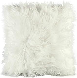 Cojín de pelo largo de CelinaTex, de pelo de oveja de imitación, tela, Weiß, Kissen 60 x 60 cm