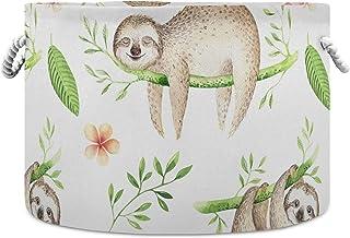 Okrągły kosz do przechowywania kosz tropikalny Aloha leniwiec składany wodoodporny kosz na pranie pokój dziecięcy kosz org...