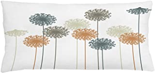 """Ambesonne Dandelion Throw Pillow Cushion Cover, Abstract Wildflower Silhouettes Botanical Inspirations Meadow in Summer Season, Decorative Rectangle Accent Pillow Case, 36"""" X 16"""", White Mustard"""