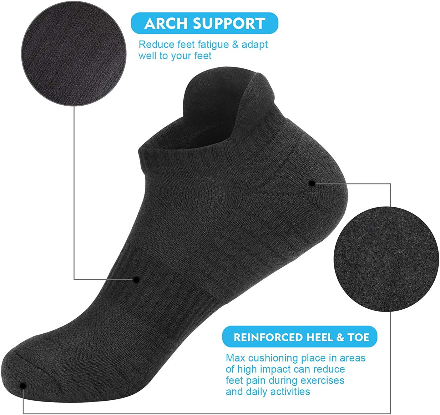 TANSTC Mens Running Socks 6 Pairs Anti-Blister Cushioned Cotton Trainer Socks for Men Women Ladies Sports Low Cut Breathable Athletic Ankle Socks