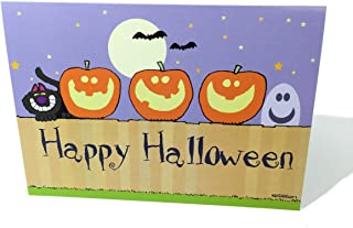 Personalized Happy Halloween - Pumkins on a Fence Greeting Card - 36 Cards & Envelopes