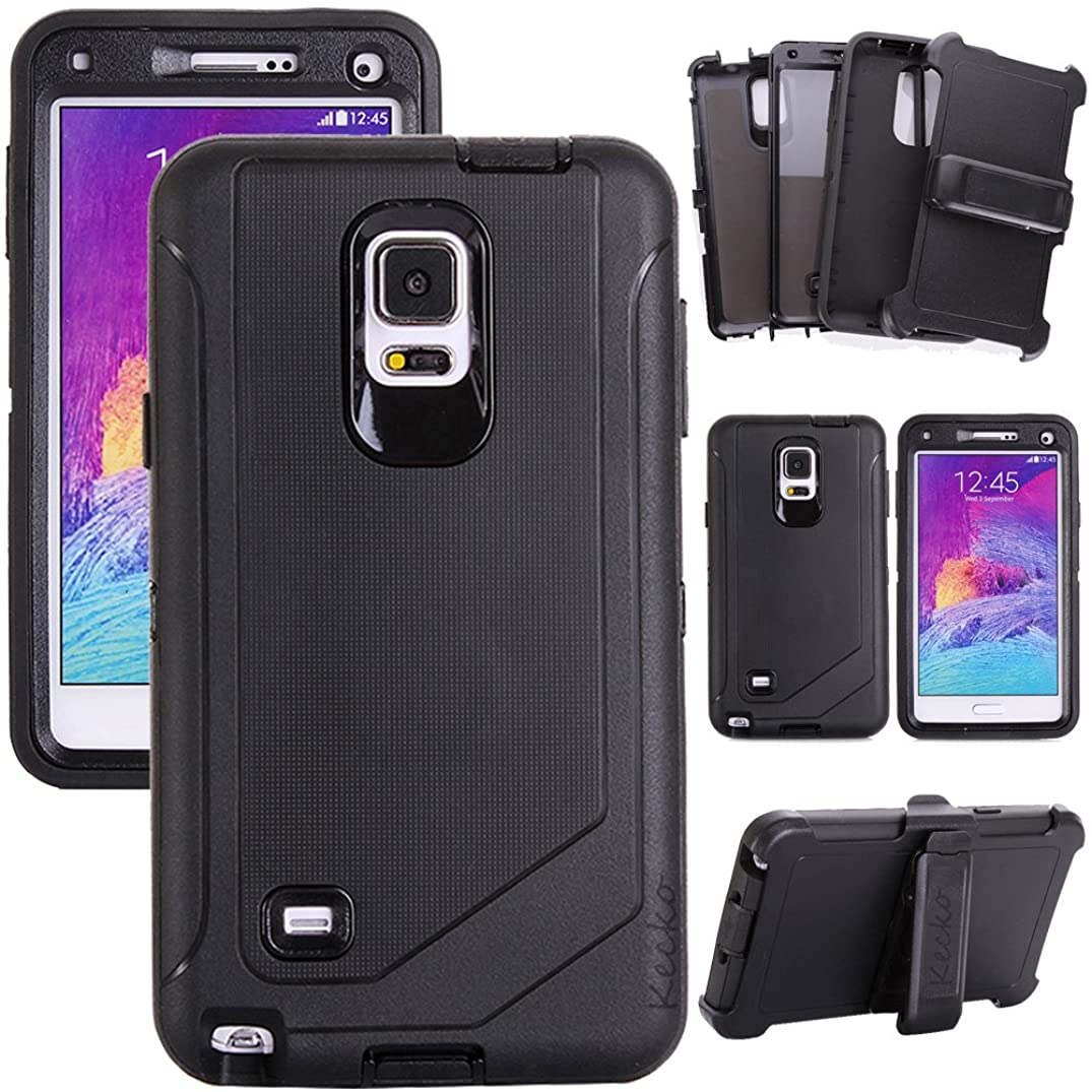 Kecko?Heavy Duty Shock-absorbing Weather Resistant Tough Silicon Hybrid Builders Workman Protective Series Belt Clip Case with Built-in Screen Protector Defender For Samsung Galaxy Note 4