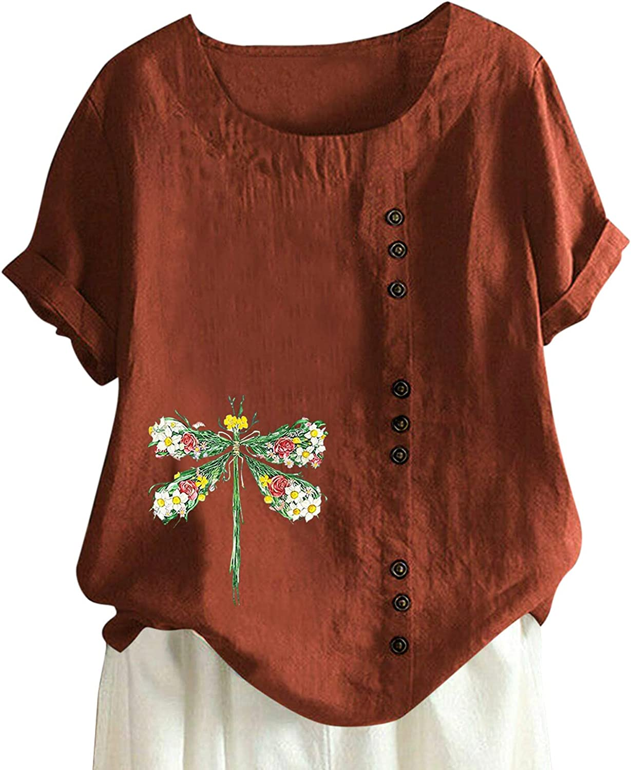 Womens Summer Tops Loose Fit Tees, Short Sleeves Cotton Linen Tunic Tops Floral Printed T Shirts Casual Blouses