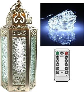 Vela Lanterns Moroccan Style Candle Lantern with LED Fairy Lights, Medium (1, White Gold)