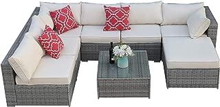 Do4U Patio Sofa 8-Piece Set Outdoor Furniture Sectional All-Weather Wicker Rattan Sofa Brown Seat & Back Cushions, Garden Lawn Pool Backyard Outdoor Sofa Wicker Conversation Set (3015-Grey-8 Pieces)