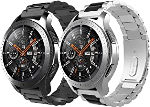 TiMOVO Replacement Band Compatible with Galaxy 46mm/Gear S3 Classic/Gear S3 Frontier, [2 Pack] Stainless Steel 22mm Watch Strap 2 Tone Watch Bracelet - Silver & Black + Black