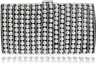 Fine Bag/Women's Pearl Clutch Bag Rhinestone Banquet Bag Party Striped Messenger Bag Portable Elegant Multifunction Bag Banquet Bag (Color : Black, Size : One Size)