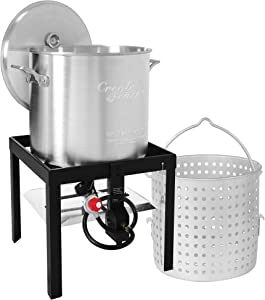Creole Feast SBK0801 Seafood Boiling Kit with Strainer, Outdoor Aluminum Propane Gas Boiler with 10 PSI Regulator, Silver