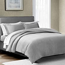 SHALALA NEW YORK Embroidery Duvet Cover Set with 2 Pillow Shams - Fiber Dye Cotton Fabric - Ultra Soft and Comfortable - Machine Washable (Grey, Full/Queen)