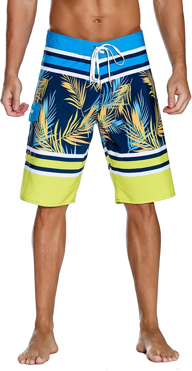 Nonwe Men's Swim Trunks Quick Dry with Pocket Adjustable Waist Board Shorts