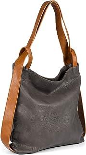 styleBREAKER Damen Rucksackhandtasche aus zweifarbigem Kunstleder, Reißverschluss, Shopper, Schultertasche, Rucksack 02012359
