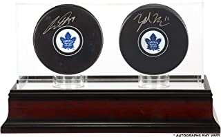 Auston Matthews and Zach Hyman Toronto Maple Leafs Autographed Hockey Pucks with Mahogany Two-Puck Case - Fanatics Authentic Certified
