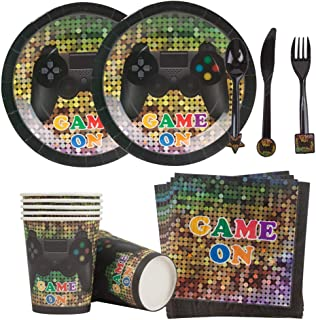 Mpartido Video Game Party Supplies 144 Pieces Serves 24 Gaming Party Dinnerware Set Includes Dinner Plates, Cups, Napkins, Knifes, Spoons, Forks for Boy Birthday Game Truck Party Themed