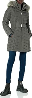 womens Belted Faux Fur Trimmed Hooded Puffer