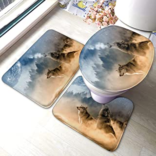 FFCrying Three Musketeers Wolves Wolf Soft Flannel Bathroom Rug Mats 3 Piece Set Bath Mat + Contour Rug + Toilet Lid Cover...