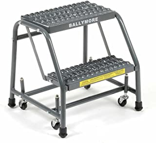 Ballymore 218G Steel Standard Rolling Ladder with Spring Loaded Casters without Handrails, Serrated Grating Tread, Unassembled, OSHA/ANSI Standard, 2 Steps, 16