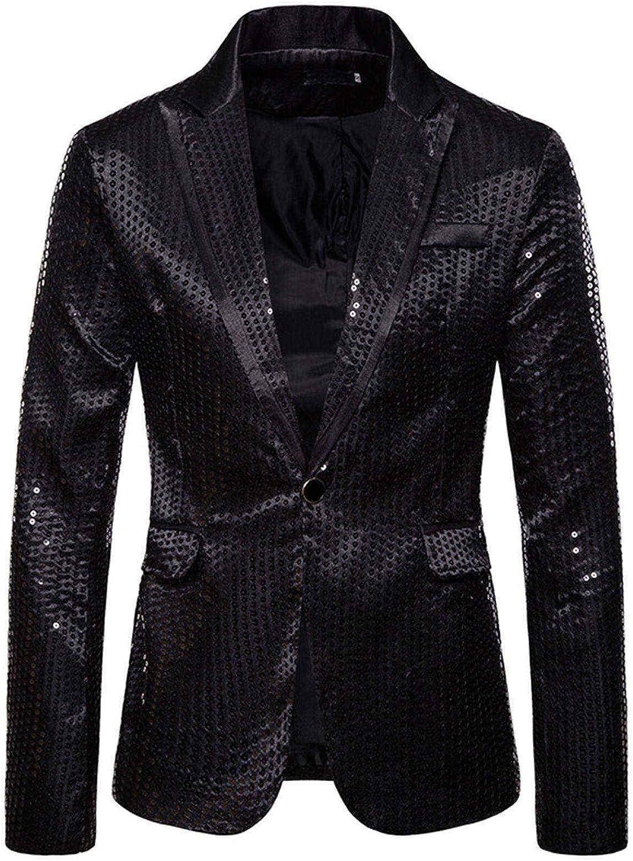 Xinantime Men's Luxury Casual Sequin Suit Notched Lapel Long Sleeve Jacket One Button Slim Fit Suit Wedding Blazer