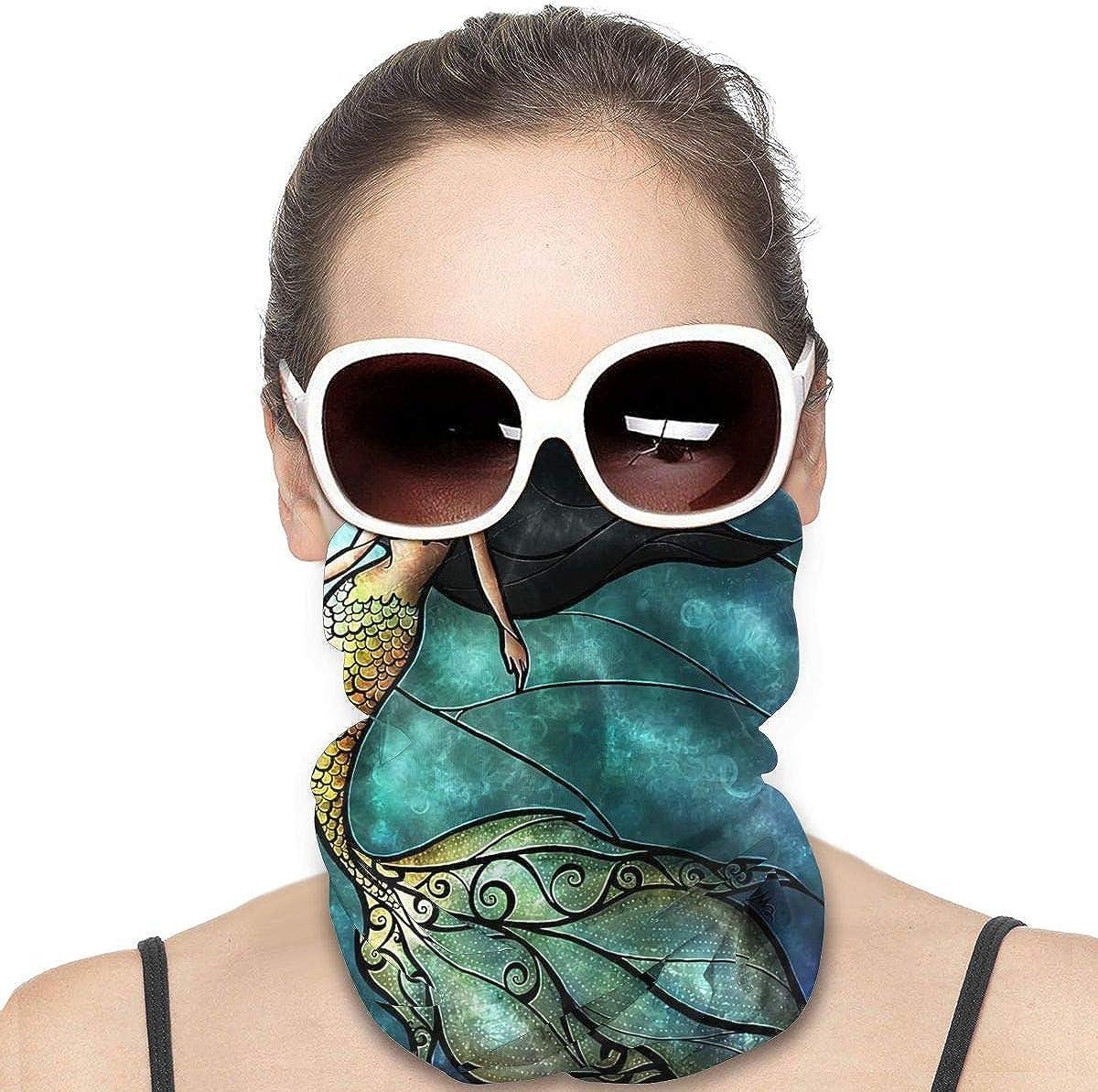Tidyki Neck Gaiters for Men - Mermaid Stained Glass Jadeite Motorcycle Mask Ski Mask Neck Gaiter Head Bands Neck Gaiters for Men Headwear Neck Warmer for Men