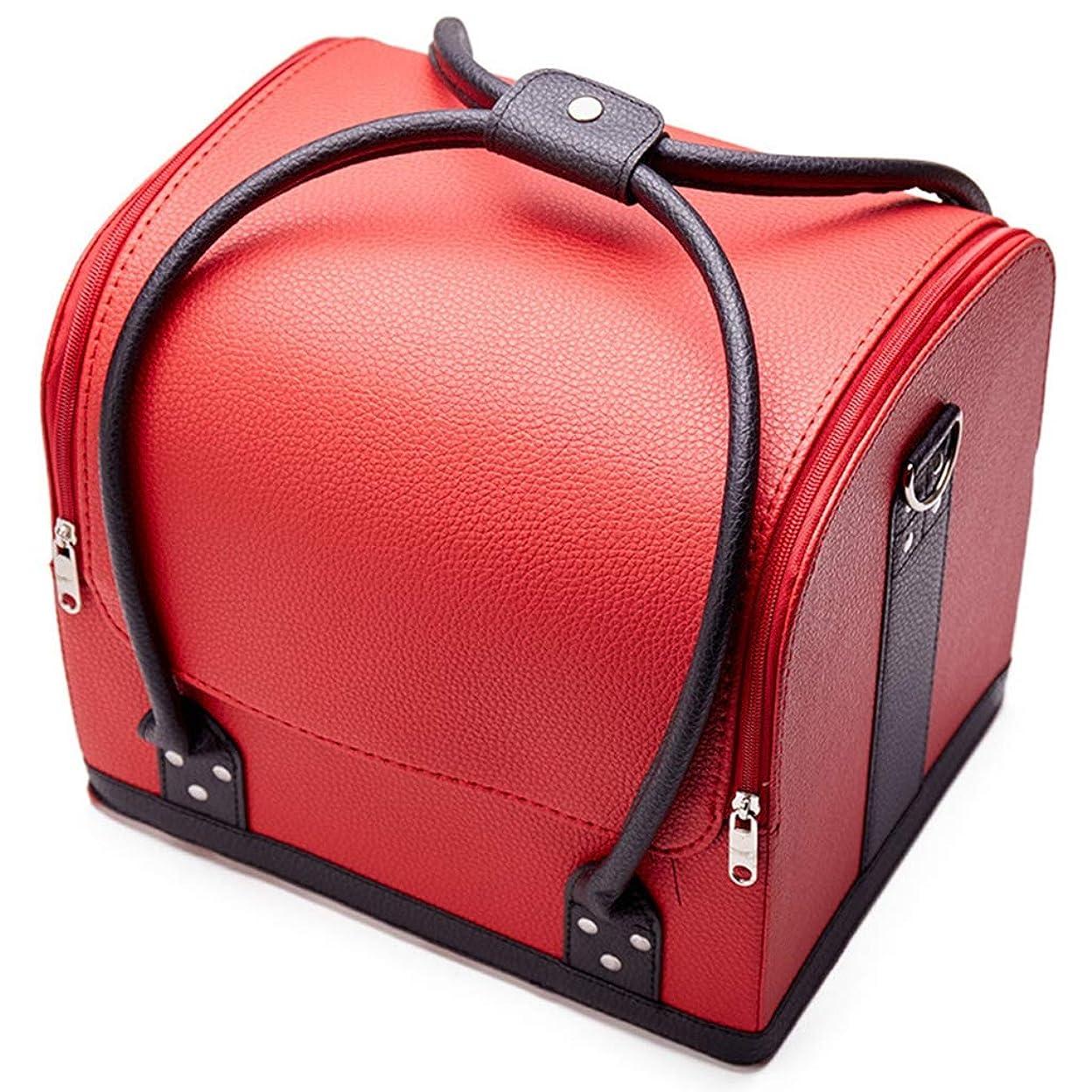 気付く冒険者大統領[テンカ] メイクボックス コスメボックス 赤黒 ネイリストバッグ 化粧箱 収納ケース 収納ボックス 防水 洗える 化粧品?化粧道具入れ 自宅?出張?旅行?アウトドア撮影 プロ用 大容量 多機能