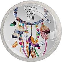 Lade Handgrepen Kast Knoppen Rond Een Pack van 4 Lade Knoppen, Etnische Tribal Amerikaanse Dreamcatcher bohemi
